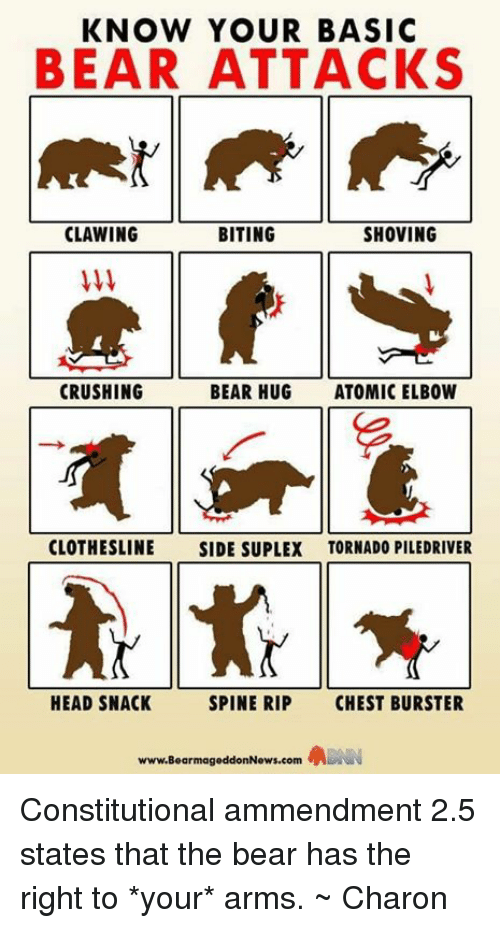 Crush, Head, and Memes: KNOW YOUR BASIC  BEAR ATTACKS  CLAWING  BITING  SHOVING  CRUSHING  BEAR HUG  ATOMIC ELBOW  CLOTHESLINE  SIDE SUPLEX TORNADO PILEDRIVER  HEAD SNACK  SPINE RIP  CHEST BURSTER  www.BearmageddonNews.com Constitutional ammendment 2.5 states that the bear has the right to *your* arms. ~ Charon