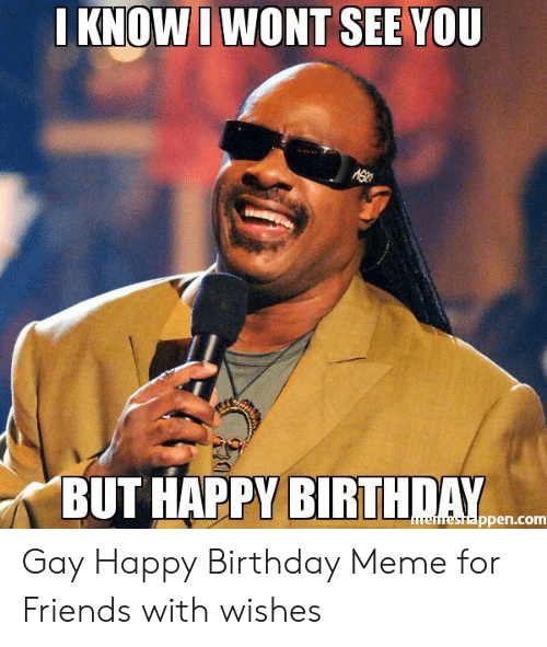 Birthday, Friends, and Meme: KNOWI WONT SEE YOU  BUT HAPPY BIRTHDAY  ppen.com Gay Happy Birthday Meme for Friends with wishes