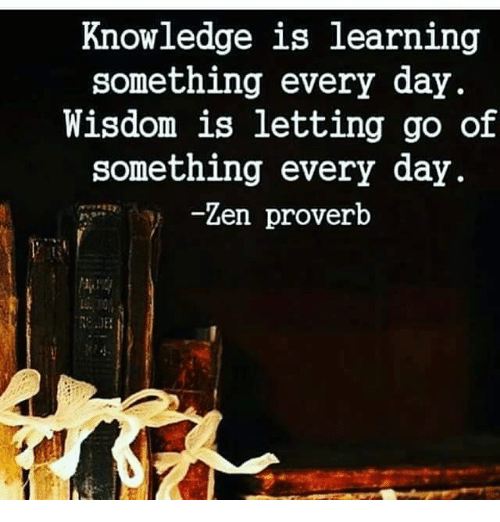 Memes, Knowledge, and Wisdom: Knowledge is learning  something every day.  Wisdom is letting go of  something every day.  Zen proverb