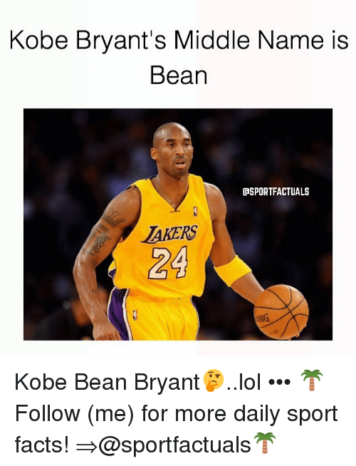 kobe bryant s middle name is bean gsportfactuals arers 24 kobe bean