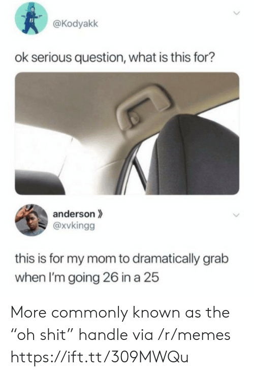 """Memes, What Is, and Mom: @Kodyakk  ok serious question, what is this for?  anderson  @xvkingg  this is for my mom to dramatically grab  when I'm going 26 in a 25  > More commonly known as the """"oh shit"""" handle via /r/memes https://ift.tt/309MWQu"""