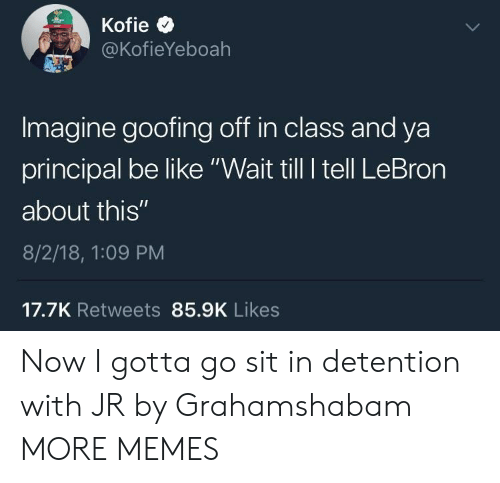"Be Like, Dank, and Memes: @KofieYeboah  Imagine goofing off in class and ya  principal be like ""Wait till I tell LeBron  about this""  8/2/18, 1:09 PM  17.7K Retweets 85.9K Likes Now I gotta go sit in detention with JR by Grahamshabam MORE MEMES"