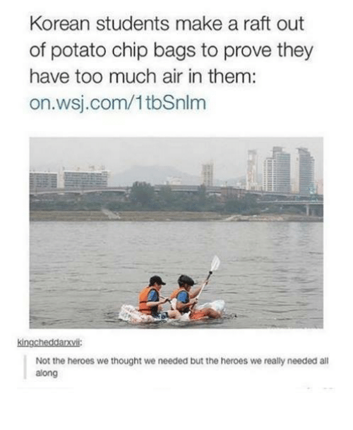 Too Much, Heroes, and Potato: Korean students make a raft out  of potato chip bags to prove they  have too much air in them:  on.wsj.com/1tbSnlm  kingcheddarsvili:  Not the heroes we thought we needed but the heroes we really needed al  along