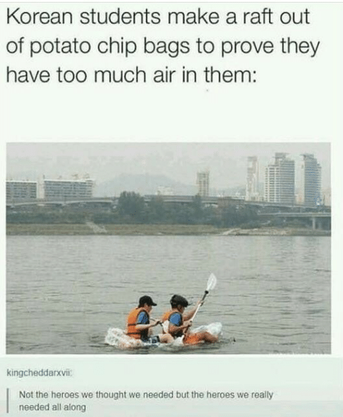 Too Much, Heroes, and Potato: Korean students make a raft out  of potato chip bags to prove they  have too much air in them:  kingcheddarxvii:  Not the heroes we thought we needed but the heroes we really  needed all along