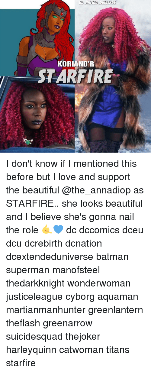Batman, Beautiful, and Love: KORIAND'R  STARFIRE I don't know if I mentioned this before but I love and support the beautiful @the_annadiop as STARFIRE.. she looks beautiful and I believe she's gonna nail the role 🤙💙 dc dccomics dceu dcu dcrebirth dcnation dcextendeduniverse batman superman manofsteel thedarkknight wonderwoman justiceleague cyborg aquaman martianmanhunter greenlantern theflash greenarrow suicidesquad thejoker harleyquinn catwoman titans starfire