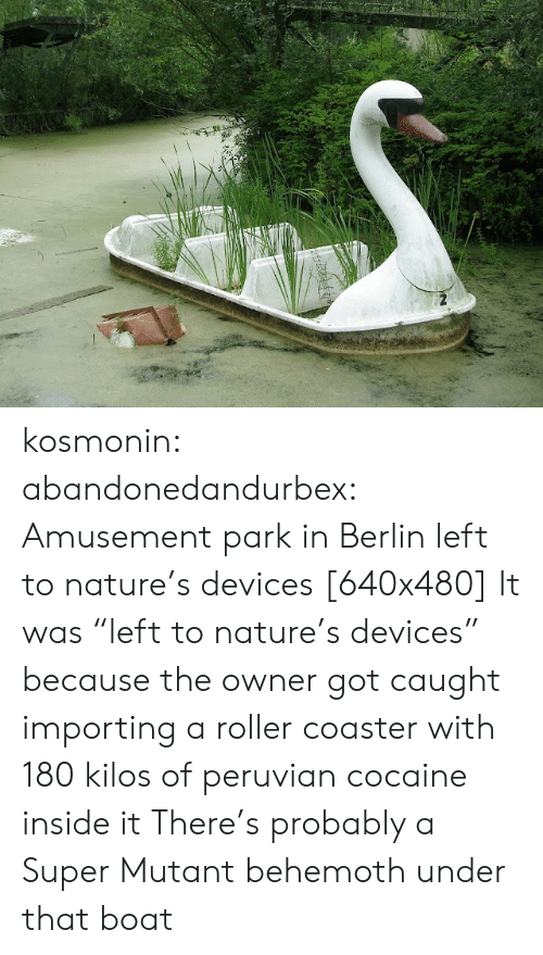 """Tumblr, Blog, and Cocaine: kosmonin: abandonedandurbex:  Amusement park in Berlin left to nature's devices [640x480]  It was """"left to nature's devices"""" because the owner got caught importing a roller coaster with 180 kilos of peruvian cocaine inside it   There's probably a Super Mutant behemoth under that boat"""