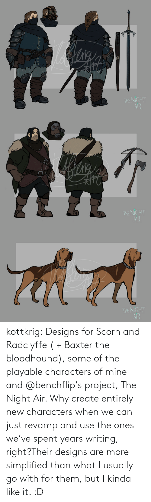 Tumblr, Blog, and Http: kottkrig:  Designs for Scorn and Radclyffe ( + Baxter the bloodhound), some of the playable characters of mine and @benchflip's project, The Night Air. Why create entirely new characters when we can just revamp and use the ones we've spent years writing, right?Their designs are more simplified than what I usually go with for them, but I kinda like it. :D