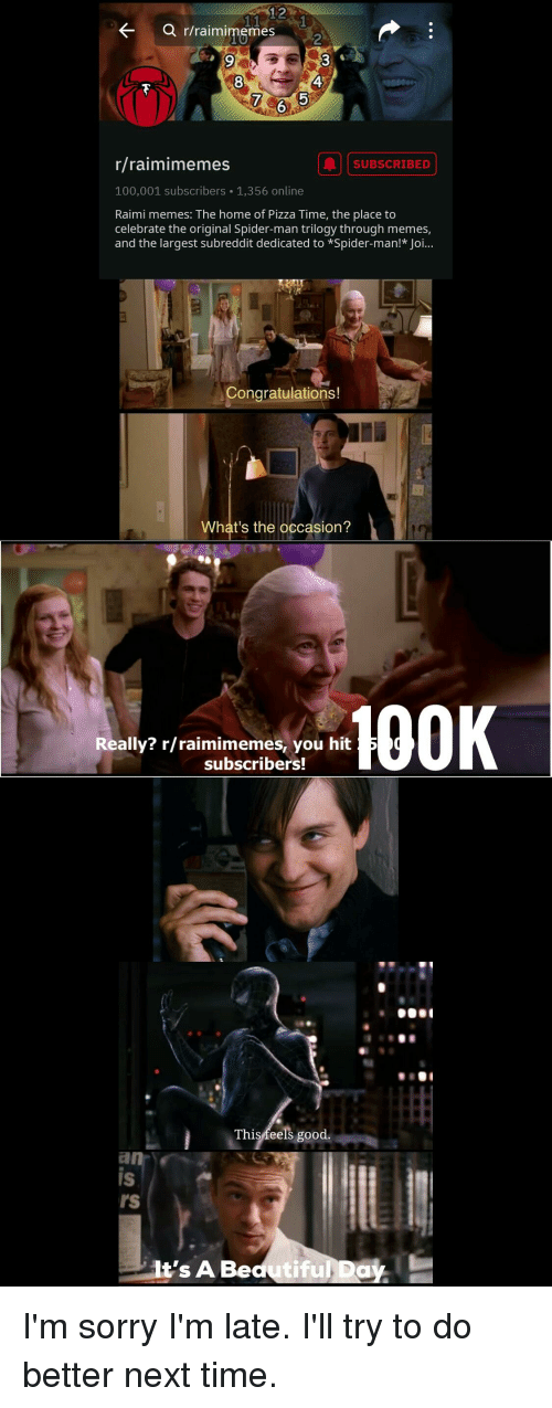 Anaconda, Memes, and Pizza: KQ r/raimimemes  8  4  7  6  r/raimimemes  SUBSCRIBED  100,001 subscribers 1,356 online  Raimi memes: The home of Pizza Time, the place to  celebrate the original Spider-man trilogy through memes,  and the largest subreddit dedicated to Spider-man! Joi...  Congratulations!  What's the occasion?  100K  ally? r/raimimemes, you hit  subscribers!  This feels good.  is  IS  rs  t's A Bedutiful Day.