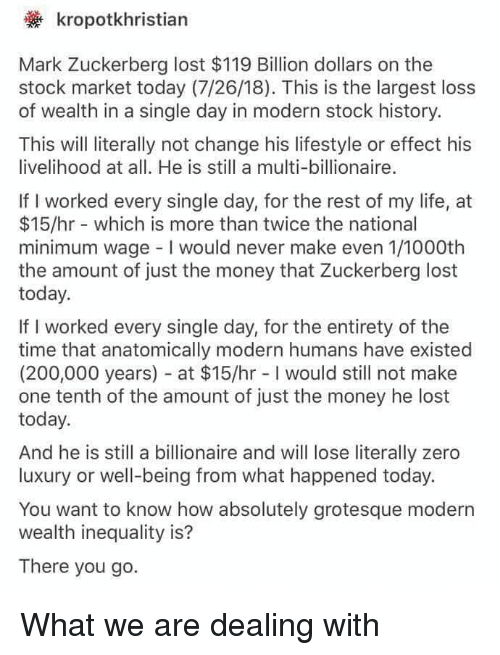 Bailey Jay, Life, and Mark Zuckerberg: kropotkhristian  Mark Zuckerberg lost $119 Billion dollars on the  stock market today (7/26/18). This is the largest loss  of wealth in a single day in modern stock history.  This will literally not change his lifestyle or effect his  ivelihood at all. He is still a multi-billionaire.  If I worked every single day, for the rest of my life, at  $15/hr which is more than twice the national  minimum wage I would never make even 1/1000th  the amount of just the money that Zuckerberg lost  today.  If I worked every single day, for the entirety of the  time that anatomically modern humans have existed  (200,000 years) at $15/hr -I would still not make  one tenth of the amount of just the money he lost  today.  And he is still a billionaire and will lose literally zero  luxury or well-being from what happened today.  You want to know how absolutely grotesque modern  wealth inequality is?  There you go.