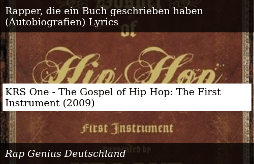 KRS One - The Gospel of Hip Hop the First Instrument 2009 | Donald