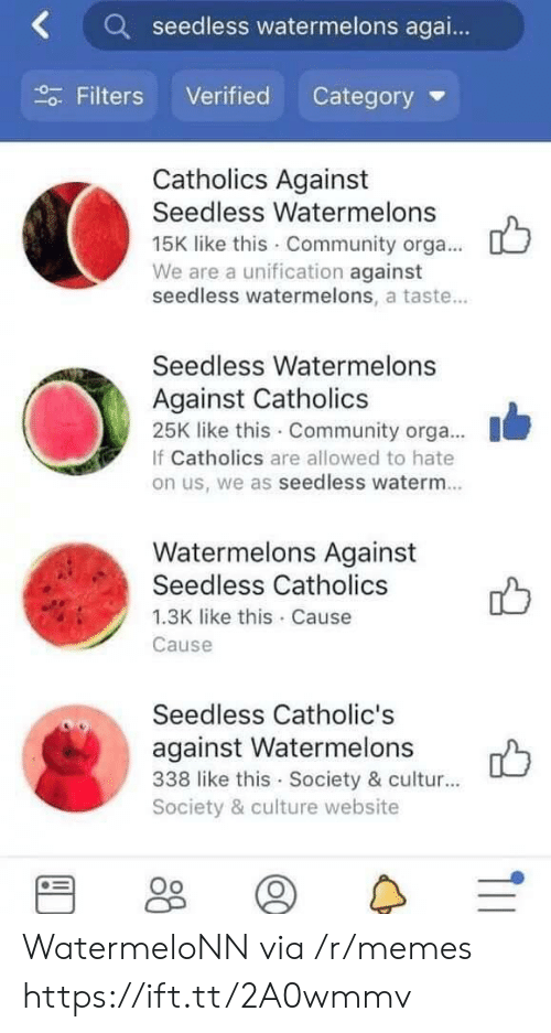 Community, Memes, and Website: Kseedless watermelons agai..  Filters Verified Category  Catholics Against  Seedless Watermelons  15K like this Community orga...  We are a unification against  seedless watermelons, a taste...  Seedless Watermelons  Against Catholics  25K like this Community orga....  If Catholics are allowed to hate  on us, we as seedless waterm.  Watermelons Against  Seedless Catholics  1.3K like this Cause  Cause  Seedless Catholic's  against Watermelons  338 like this Society & cultur...  Society & culture website WatermeloNN via /r/memes https://ift.tt/2A0wmmv