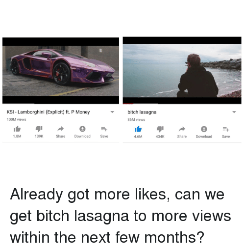 Ksi Lamborghini Explicit Ft P Money Bitch Lasagna 86m Views 100m