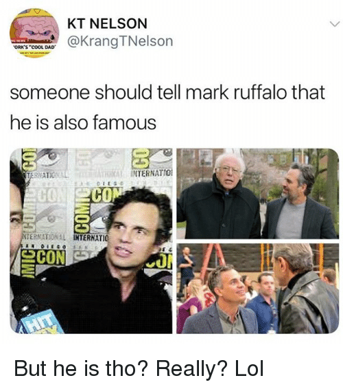 """Dad, Funny, and Lol: KT NELSON  aKrangTNelson  ORK'S """"COOL DAD  someone should tell mark ruffalo that  he is also famous  RAL INTERNATIO  C0  CO  ERNATIO 뇨 But he is tho? Really? Lol"""