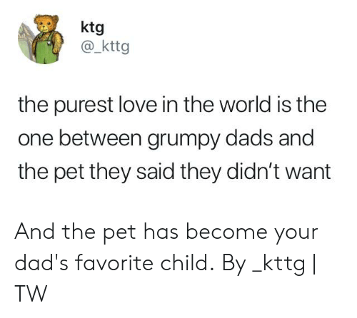 Dank, Love, and World: ktg  @ kttg  the purest love in the world is the  one between grumpy dads and  the pet they said they didn't want And the pet has become your dad's favorite child.  By _kttg | TW
