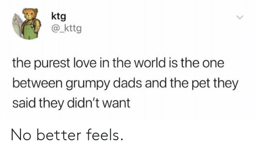 Love, World, and Pet: ktg  @_kttg  the purest love in the world is the one  between grumpy dads and the pet they  said they didn't want No better feels.