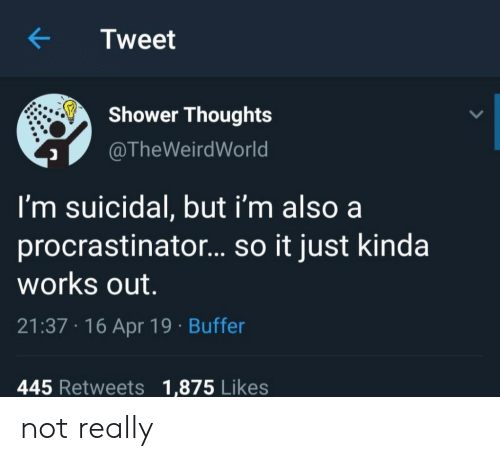 Shower, Thought, and Apr: KTweet  Shower Thought:s  @TheWeirdWorld  I'm suicidal, but i'm also a  procrastinator... so it just kinda  works out  21:37 16 Apr 19 Buffer  445 Retweets 1,875 Likes not really