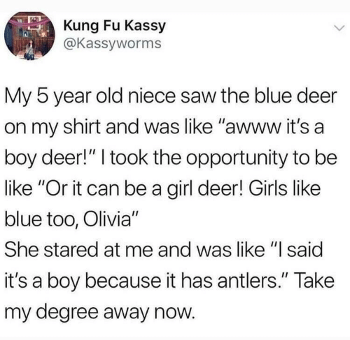 """Be Like, Deer, and Girls: Kung Fu Kassy  @Kassyworms  My 5 year old niece saw the blue deer  on my shirt and was like """"awww it's a  boy deer!"""" I took the opportunity to be  like """"Or it can be a girl deer! Girls like  blue too, Olivia""""  She stared at me and was like """"l said  it's a boy because it has antlers."""" Take  my degree away now"""