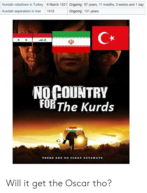 History, Turkey, and Kurdish: Kurdish rebellions in Turkey 6 March 1921 Ongoing 97 years, 11 months, 3 weeks and 1 day  Kurdish separatism in Iran1918  Ongoing 101 years  C*  NO COUNTRY  FOB The Kurds  THE  A耗 NO CLEAN GETAWAYS Will it get the Oscar tho?