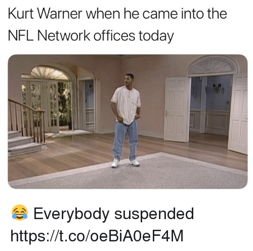 Football, Nfl, and Sports: Kurt Warner when he came into the  NFL Network offices today  Il 😂 Everybody suspended https://t.co/oeBiA0eF4M