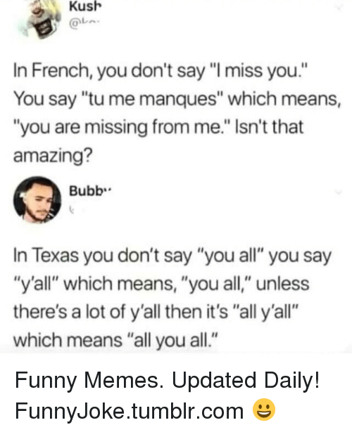"Funny, Memes, and Tumblr: Kush  In French, you don't say ""I miss you.""  You say ""tu me manques"" which means,  ""you are missing from me."" Isn't that  amazing?  Bubb  In Texas you don't say ""you all"" you say  ""y'all"" which means, ""you all,"" unless  there's a lot of y'all then it's ""all y'all""  which means ""all you all."" Funny Memes. Updated Daily! ⇢ FunnyJoke.tumblr.com 😀"