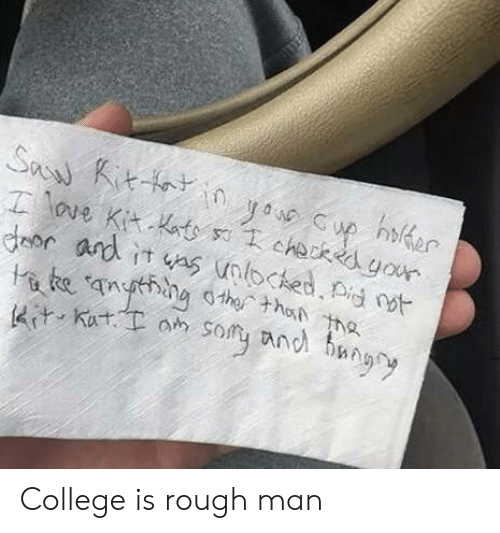 College, Rough, and Man: Kut.oh sor anel bun College is rough man