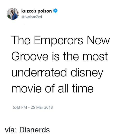 Disney, Emperor's New Groove, and Funny: : kuzco's poison  @NathanZed  The Emperors New  Groove is the most  underrated disney  movie of all time  5:43 PM-25 Mar 2018 via: Disnerds
