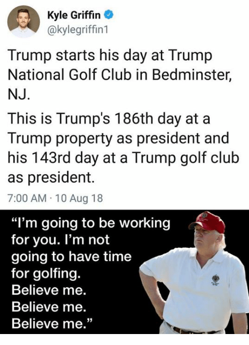 4adde7b6146 Kyle Griffin Trump Starts His Day at Trump National Golf Club in ...