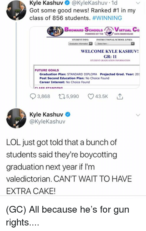 Future, Goals, and Lol: Kyle Kashuv @KyleKashuv 1d  Got some good news! Ranked #1 in my  class of 856 students. #WINNING  BROWARD SCHOOLS CVIRTUAL Co  POWERED BY THEDATA WAREHOUSE  STUDENT INFO  INSTRUCTIONALACHOOL LINKS:  WELCOME KYLE KASHUV!  GR: 11  STUDENT GRADUATION INFORMATION  FUTURE GOALS  Graduation Plan: STANDARD DIPLOMA Projected Grad. Year: 201  Post Second Education Plan: No Choice Found  Career Interest: No Choice Found  93868 t15,990 43.5K  3,868  5,990  Kyle Kashuv  @kyleKashuv  LOL just got told that a bunch of  students said they're boycotting  graduation next year if I'm  valedictorian. CAN'T WAIT TO HAVE  EXTRA CAKE! (GC) All because he's for gun rights....