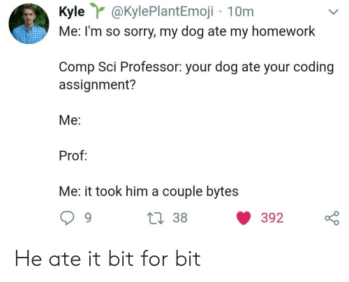 Sorry, Homework, and Dog: Kyle@KylePlantEmoji 10m  Me: I'm so sorry, my dog ate my homework  Comp Sci Professor: your dog ate your coding  assignment?  Me:  Prof  Me: it took him a couple bytes He ate it bit for bit