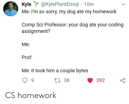Sorry, Homework, and Dog: Kyle@KylePlantEmoji 10m  Me: I'm so sorry, my dog ate my homework  Comp Sci Professor: your dog ate your coding  assignment?  Me:  Prof  Me: it took him a couple bytes CS homework