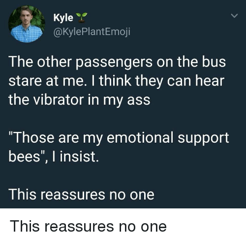 """Ass, Vibrator, and Bees: Kyle  @kylePlantEmoji  The other passengers on the bus  stare at me. I think they can hear  the vibrator in my ass  """"Those are my emotional support  bees"""", I insist.  This reassures no one This reassures no one"""