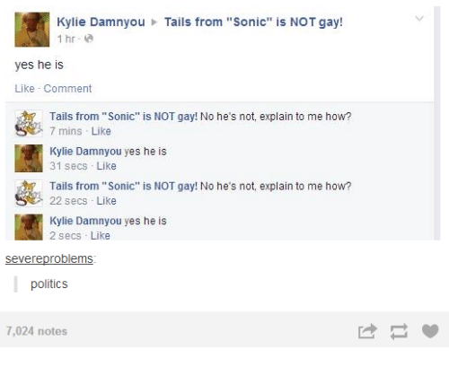 Tails From Sonic Is Not Gay