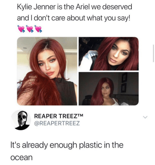 Ariel, Kylie Jenner, and Ocean: Kylie Jenner is the Ariel we deserved  and I don't care about what you say!  CRCATION  REAPER TREEZTM  @REAPERTREEZ  It's already enough plastic in the  ocean