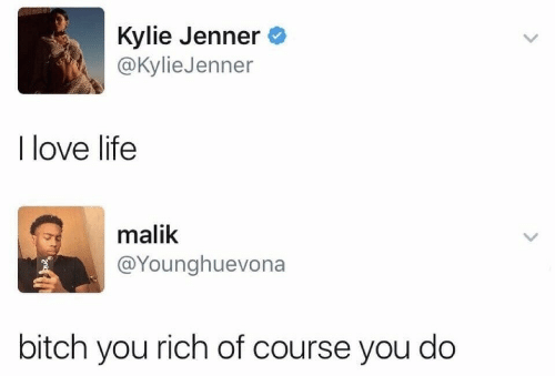 Bitch, Kylie Jenner, and Life: Kylie Jenner  @Kylie Jenner  I love life  malik  @Younghuevona  bitch you rich of course you do