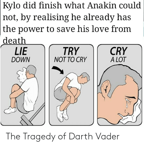 Darth Vader, Love, and Death: Kylo did finish what Anakin could  not, by realising he already has  the power to save his love from  death  LIE  CRY  A LOT  TRY  DOWN  NOT TO CRY The Tragedy of Darth Vader