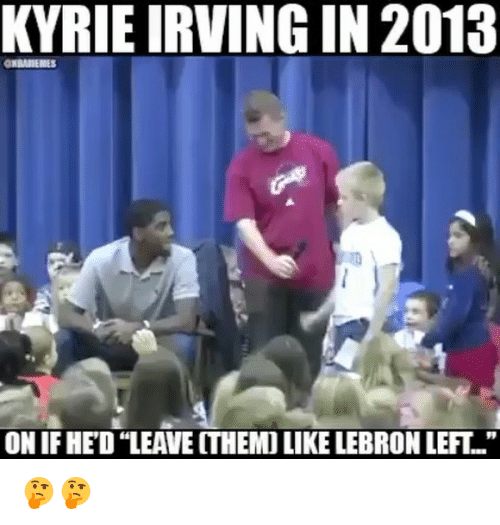 """Basketball, Kyrie Irving, and Sports: KYRIE IRVING IN 2013  ON IF HED """"LEAVE ITHEMO LIKE LEBRON LEFT.."""" 🤔🤔"""