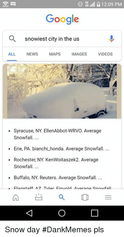 Google, Honda, And Memes: L 12:09 PM Google Q Snowiest City