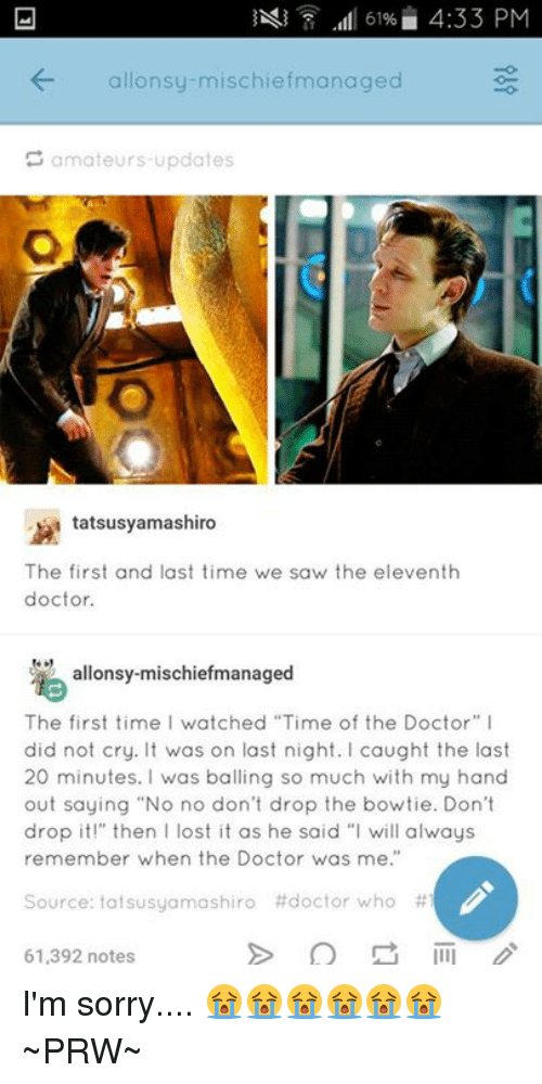 L 61 433 Pm Onsy Mischief Managed Amateurs Updates Tatsusyamashiro The First And Last Time We Saw The Eleventh Doctor Allonsy Mischief Managed The First