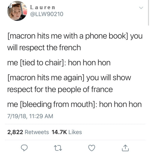 L a Re Im Macron Hits Me With a Phone Book You Will Respect