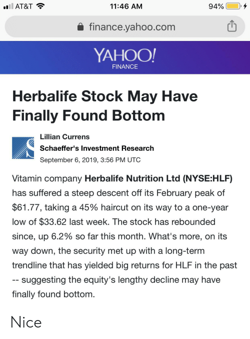 L AT&T 94% 1146 AM Financeyahoocom YAHOO! FINANCE Herbalife