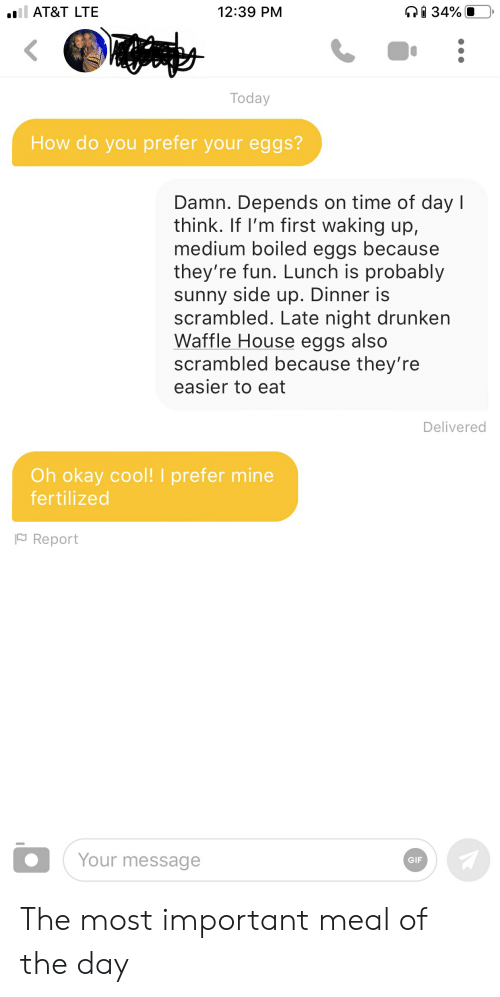 Gif, Waffle House, and At&t: l AT&T LTE  12:39 PM  34%  Today  How do you prefer your eggs?  Damn. Depends on time of day l  think. If I'm first waking up,  medium boiled eggs because  they're fun. Lunch is probably  sunny side up. Dinner is  scrambled. Late night drunken  Waffle House eggs also  scrambled because they're  easier to eat  Delivered  Oh okay cool! I prefer mine  fertilized  Report  Your message  GIF The most important meal of the day