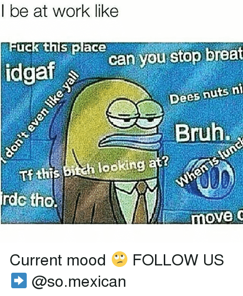 Memes, Mood, and Work: l be at work like  Fuck this place  Dees nuts ni  ookin at?  rdc tho.  nove c Current mood 🙄 FOLLOW US➡️ @so.mexican