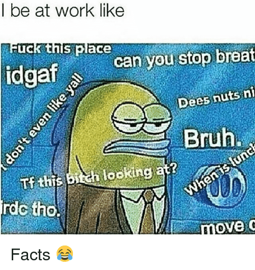 Bruh, Facts, and Funny: l be at work like  uck this place  idgafcan you stop breat  Dees nuts ni  Bruh  looking  rdc tho. Facts 😂