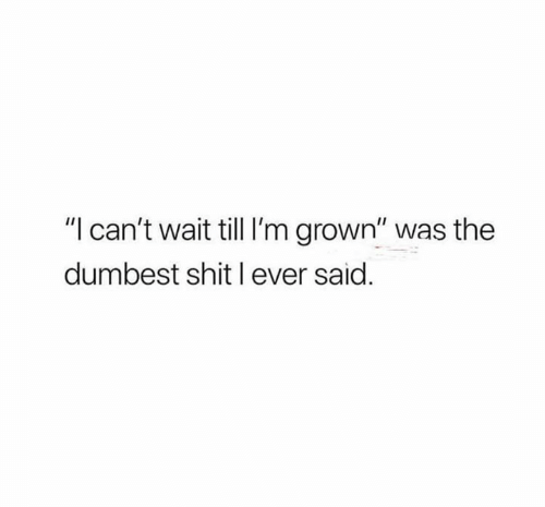 "Shit, Wait, and Dumbest: ""l can't wait till I'm grown"" was the  dumbest shit l ever said."