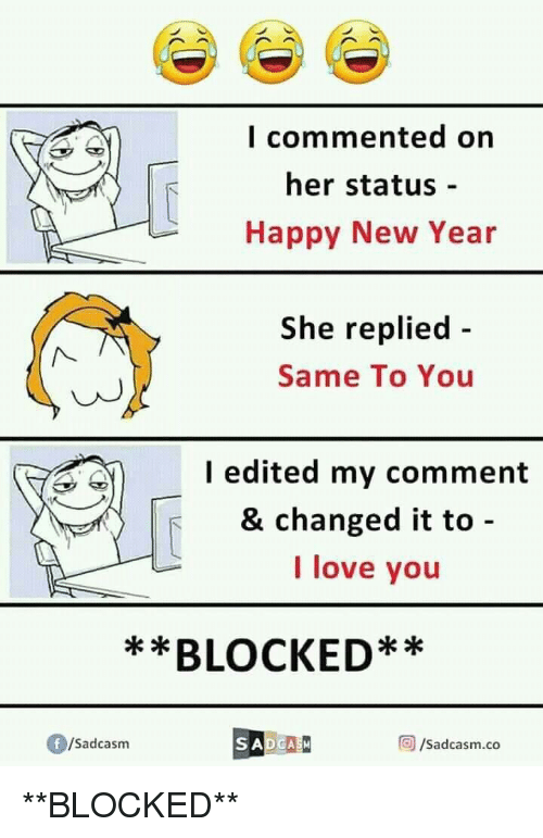 L Commented on Her Status - Happy New Year She Replied - Same to You ...