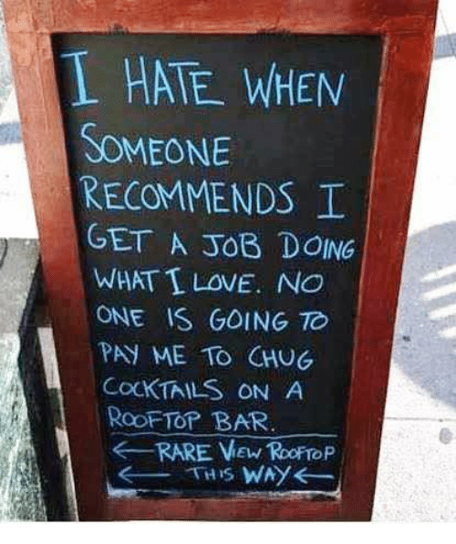 Dank, Love, and 🤖: L HATE WHEN  SOMEONE  RECOMMENDS  GET A JOB DOING  WHAT I LOVE. NO  ONE IS GOING TC  PAY ME TO CHUG  COCKTAILS ON A  RooFTOP BAR