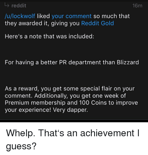 l reddit 16m ulockwolf liked your comment so much that they awarded