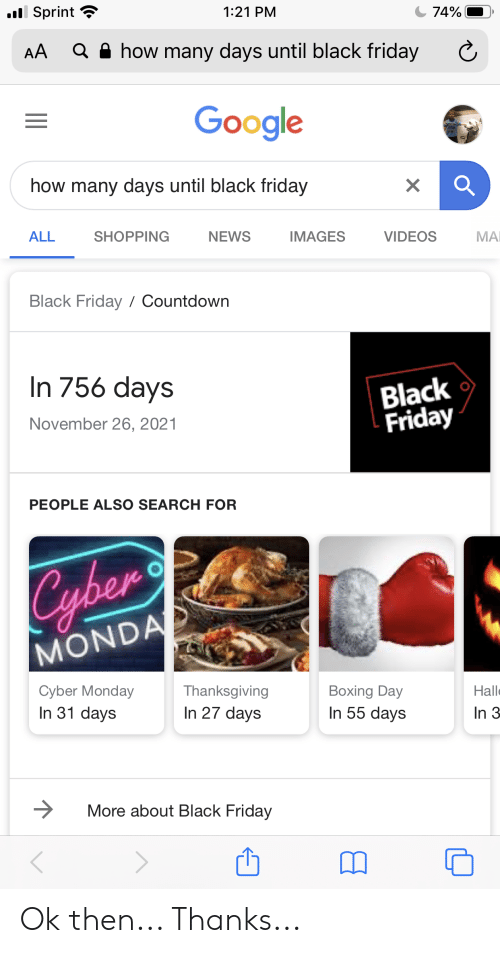 L Sprint 121 Pm 74 A How Many Days Until Black Friday Aa Google How Many Days Until Black Friday X All Shopping News Images Videos мai Black Friday Countdown In 756