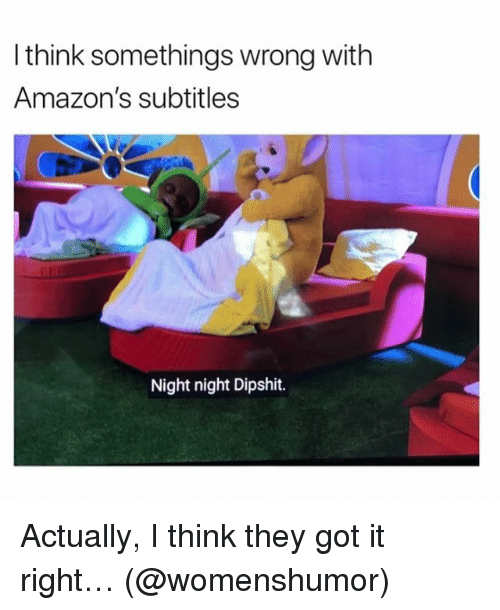 Memes, 🤖, and Got: l think somethings wrong with  Amazon's subtitles  Night night Dipshit. Actually, I think they got it right… (@womenshumor)