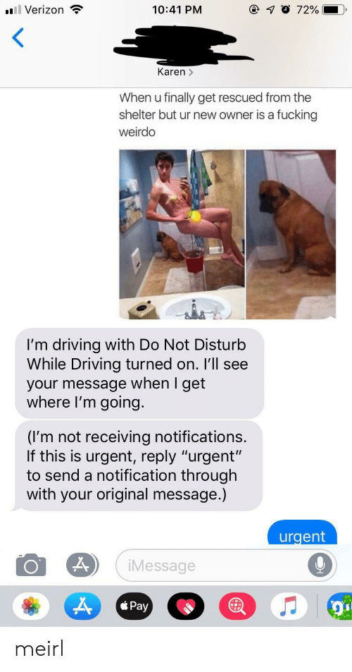 "Driving, Fucking, and Verizon: l Verizon  10:41 PM  Karen >  When u finally get rescued from the  shelter but ur new owner is a fucking  weirdo  I'm driving with Do Not Disturb  While Driving turned on. I'll see  your message when I get  where I'm going.  (I'm not receiving notifications  If this is urgent, reply ""urgent'""  to send a notification through  with your original message.)  urgent  Message  Pay meirl"